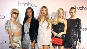 (L-R) Paris Hilton, Jasmine Tookes, Romee Strijd, Elsa Hosk, and Josephine Skriver attend Boohoo x All That Glitters Launch Party in Los Angeles in 2019 | Source: Getty Images