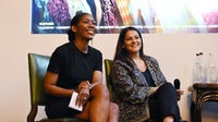 Kenya Hunt (left) and Chantal Khouiery, Chantal Khoueiry, chief culture officer at Bicester Village, at a BFC panel discussion during London Fashion Week Men's in June 2019 by Tabatha Fireman | Source: Getty Images