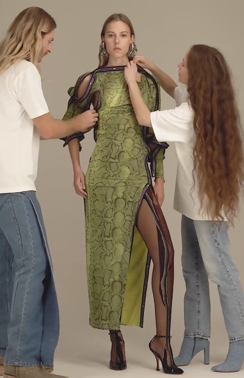 Stylists adjusting a look from Y/Project's SS21 collection
