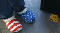San Francisco Election inspector Andrea Hartsough wears her voting day shoes | Source: Liz Hafalia/The San Francisco Chronicle via Getty Images