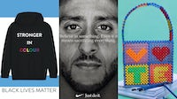 "(L-R) All net proceeds from Prabal Gurung's limited edition sweatshirt went to The Bail Project; Nike's famed Colin Kaepernick campaign from 2018; $35 from each sale of Susan Alexandra's ""Vote"" bag went to non-profit ACLU 