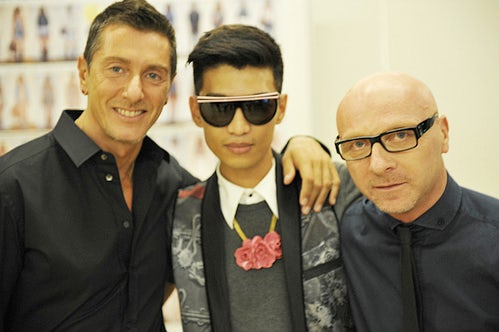 Bryanboy with Domenico Dolcea and Stefano Gabbana | Source: Bryanboy