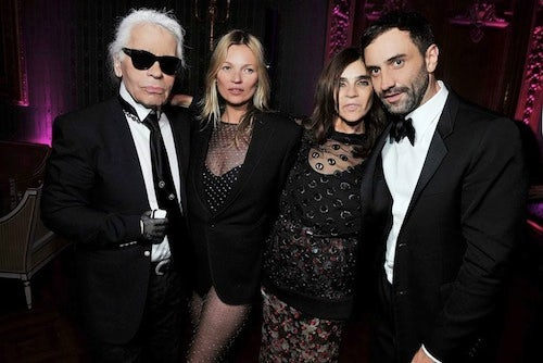 Karl Lagerfeld, Kate Moss, Carine Roitfeld and Riccardo Tisci at the CR Fashion Book Party | Source: Courtesy of CR Fashion Book
