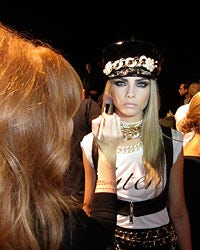 Tilbury with Cara Delevingne backstage at DSquared2 show