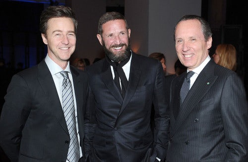 Edward Norton, Stefano Pilati and Gildo Zegna at the Ermenegildo Zegna Eminences Grises unveiling | Photo: Stefanie Keenan/Getty Images for Ermenegildo Zegna