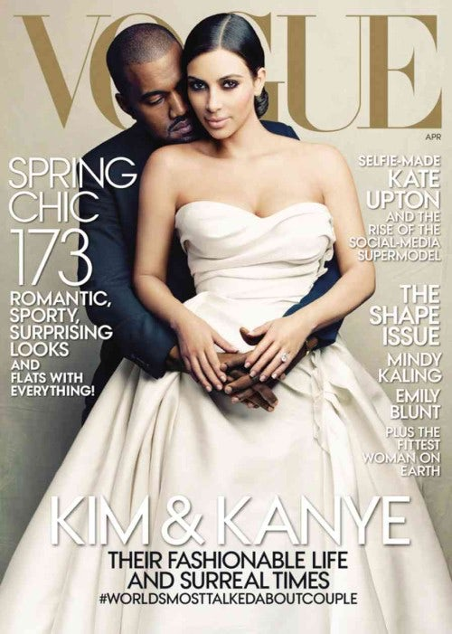 Kim Kardashian and Kanye West on American Vogue's April 2014 Issue | Source: Courtesy of Vogue, Annie Leibovitz