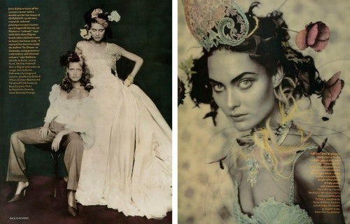 Shalom Harlow and Amber Valletta styled by Lucinda Chambers in Vogue UK May 1996 | Photo: Paolo Roversi