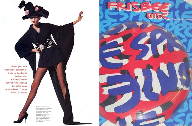 Left: A John Galliano kimono bought by Alex Fury, Right: Mandi Lennard's Stephen Sprouse frisbee