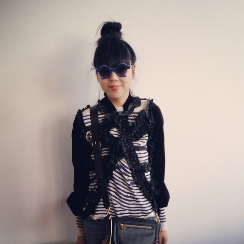 Susie Bubble wearing a Comme des Garcons jacket from the SS08 collection.