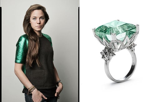 (L) Bibi van der Velden, (R) Art Deco ring | Source: Bibi van der Velden