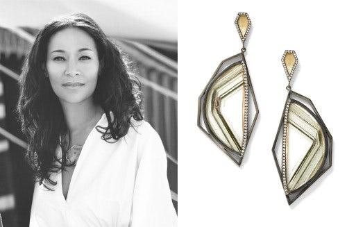 (L) Monique Péan, (R) Pair of earrings | Source: Monique Péan