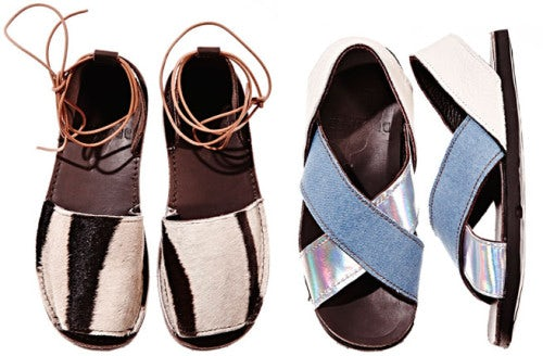 Sandals in zebra and denim/holographic leather | Source: Brother Vellies