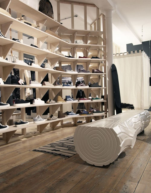 Stud wall shoe display at Goodhood | Source: Courtesy
